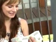Amazing amateur girl takes money and rides a horseshit in public