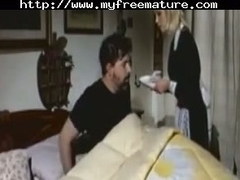 Horny italian wife going to bed in front of her husband