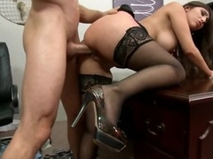 Brunette Alexis Breeze Titty Fucks Her Boss' Big Dick With Her Big Tits