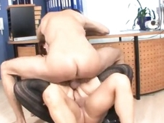 Bulky chick fucked by two guys in office