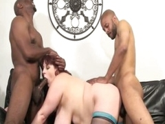 Two monster black jocks stuffing horny big tits fat chick