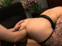 The down in the mouth tattooed babe with big tits and a fabulous ass gets their way pussy fisted unfathomable