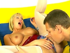 Big-Titty blonde milf Mellanie Monroe gets her pink juicy snatch licked and stuffed with a huge cock
