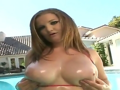 Gorgeous and hawt slut Maddy rubs her bog natural boobs and masturbates