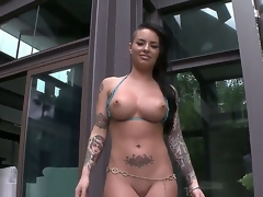 Christy Mack is here and it means, that you are going to see a really hot striptease and coarse masturbation. Just take a look at her big fuckable booty and huge melons, its a miracle