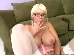 Tempting and provocative blonde hottie Carly Parker with gigantic juicy knockers and arousing glasses in stockings teases her partner and takes on his stiff meaty cock in point of view
