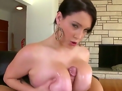 So sexual and so naughty woman Noelle Easton is going to play with big knob of pretty fellow. She is using her massive boobs, magic mouth and tender hand to caress his dick.