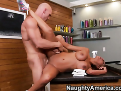 Flirty temptress with big bottom and clean snatch finds herself getting slam fucked by Johnny Sins