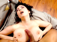 Here it is, fellas, the moment you ve been waiting for: Karina finally tugs on a hard cock-a real, hard cock--and takes it betwixt her glorious tits. This is the culmination of every boob-man s fantasy, and Karina doesn t disappoint in her hottest scene yet. It was shot for the full-length feature DVD Breasty Riding Academy, available in the store. Basically, the setup goes like this: Karina and her busty allies (Christy Marks, Terry Nova, Jasmine Black, Melissa Mandlikova and Kristy Klenot) have been attending a riding school (although they seem to spend most of their time riding cocks, not horses). Lord Chandler, who runs the school, lusts after Karina, but she doesn t lust after him. She has her eyes on Carlos, the stable boy, and what Karina wants, Karina gets: a hot, sticky load all over her rack. Treasure these photos and the video, members. This is Karina s first boy-girl, and who knows if there ll ever be another.