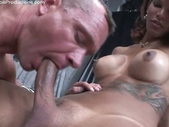 Hot stud getting ass fucked away from a big dick shemale