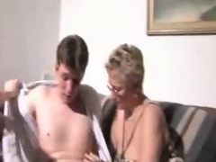 young couple and  aged Mom copulates