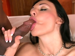 Big boobed Aletta Ocean awaits a hot load to explode on her filthy face