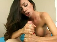 Busty milf polishing cock with her sensual frowardness