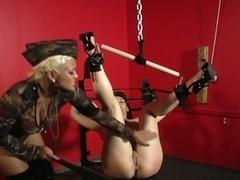 Maxine x has jamie james tied up and uses dildo