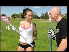 Emily Parker is a mean lacrosse player and this day this babe is giving Johnny's Sins a intimate lesson. Johnny cannot take his eyes off Emily's beautiful breast which totally messes his game up. After the lesson Emily sneaks into the shower with Johnny to give him a award for all the hard work.