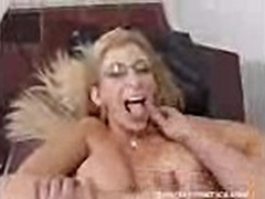 Big titted mommie Sara Jay gets facialized by a huge load of cum
