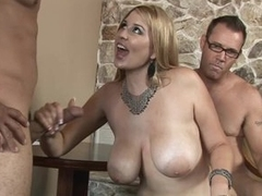 Sexy Blond with natural large wobblers gets fucked by 2 hard cocks