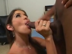Sluty milf Felony pushes long darksome cock down her open throat