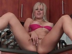 Perfect big boobs blonde shows off in kitchen