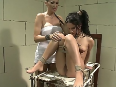 Brunette Bettina Dicapri with massive melons getting satisfaction with lesbian Mandy Bright