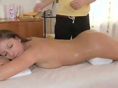 Brunette takes fuck stick from behind