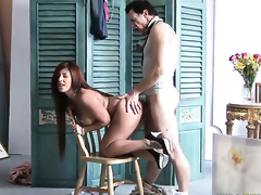 Frank Gun bangs amazing Amanda Blacks mouth just like crazy before backdoor sex