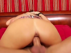 Delicious and amazing babe Kristal Summers is having a lot of fun having her wet and trimmed pussy drilled by a huge cock while she is showing her bug and round breasts and ass.