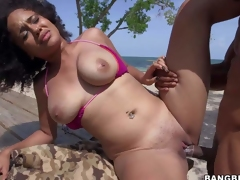 Curly haired sexy Julie Kay in barley there bikini shows off her big natural boobs as that babe gets her pussy fucked hard in the open air. Busty Julie Kay cant get enough and takes stiff cock again in a hotel room
