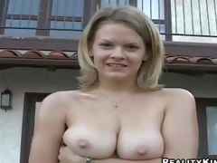 Cute blond lady Bailey Bliss demonstrates her lovely natural hooters outdoors and indoors, She gets her juicy boobs touched by curious guy in advance of she pulls down her white panties to show her clean pussy