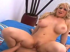 Hawt and busty blonde Candy Manson erected Hunters big dick with deep suck and stuffed it in her shaved pussy with pierced clitoris.