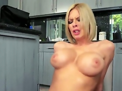 Hardcore action as good neighbors Bill Bailey and Riley Evans get it on in the kitchen. the kitchen is getting hotter as this horny couple are cooking up something special. He fucks her over the work top and then she rides his big cock as he lays on the kitchen floor.