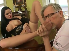 Anastasia Brill with her big boobs is relaxing with old fart Christoph Clark. He starts with giving nice cunnilingus to the beauty. Yeah, chap licks her so well before footjob.