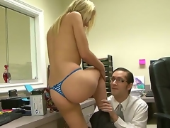 Skinny innocent-looking programmed John Henry came to help his arresting blonde co-worker Shawna Lenee to install some programs. Shawna knows how not to remain in debt!