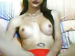 Sexy Tranny Shows Huge Hard Cock