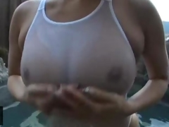 japanese girl with big boobs sucking penis in water