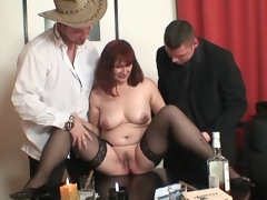 Grandma and allies from poker to threesome fuck