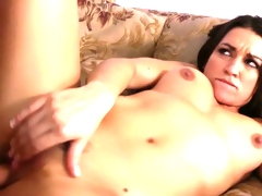 Brunette Ann Marie Rios gets fucked on the couch.