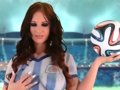 Curvy Kyra Hot models painted on soccer outfit