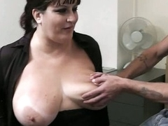 BBW in pantyhoses rides his massive counter