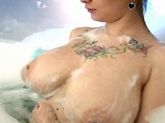 Sweet brunette exgirlfriend Jennique  showing her sexy tattoos and...