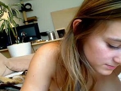 Squeezing her big boobs together for her boyfriend who is on the other side of the webcam, this brunette amateur uses different dildos on her shaved snatch to bring herself pleasure.
